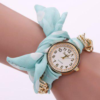 Polka Dot Fabric Bracelet Watch - LIGHT GREEN LIGHT GREEN