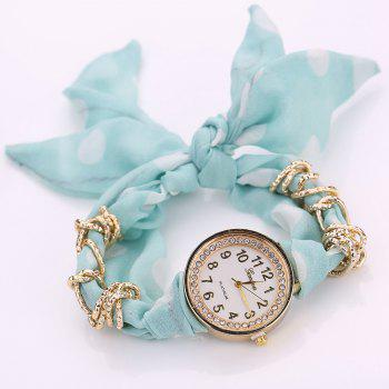 Polka Dot Fabric Bracelet Watch -  LIGHT GREEN