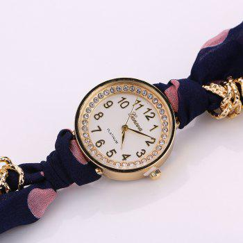 Polka Dot Fabric Bracelet Watch -  PURPLISH BLUE