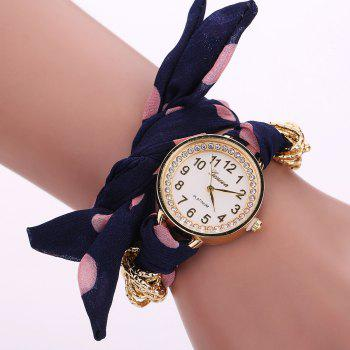 Polka Dot Fabric Bracelet Watch - PURPLISH BLUE PURPLISH BLUE