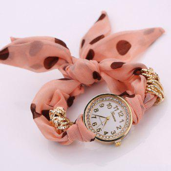 Polka Dot Fabric Bracelet Watch -  ORANGEPINK