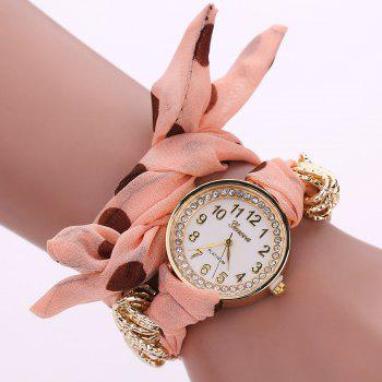 Polka Dot Fabric Bracelet Watch - ORANGEPINK ORANGEPINK