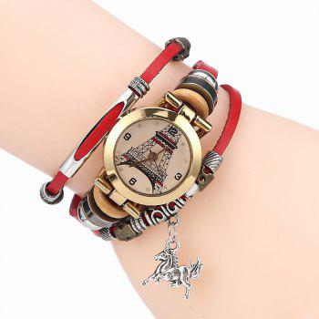 Effiel Tower Charm Bracelet Watch - RED RED