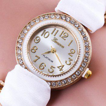 Rhinestone Number Fabric Bracelet Watch -  WHITE