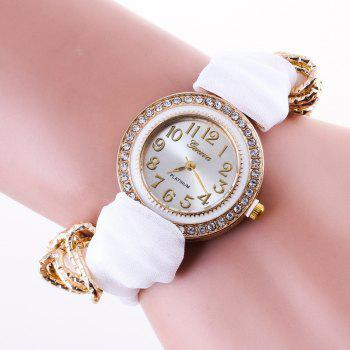 Rhinestone Number Fabric Bracelet Watch - WHITE WHITE
