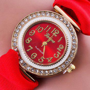Rhinestone Number Fabric Bracelet Watch -  RED