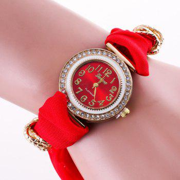 Rhinestone Number Fabric Bracelet Watch - RED RED