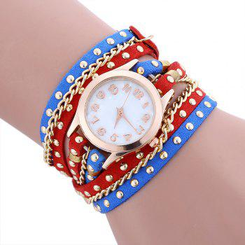 Chain Studed Faux Leather Bracelet Watch - BLUE AND RED BLUE/RED