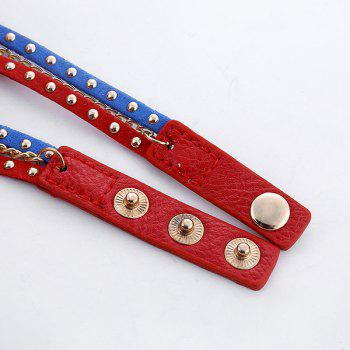 Chain Studed Faux Leather Bracelet Watch -  BLUE/RED