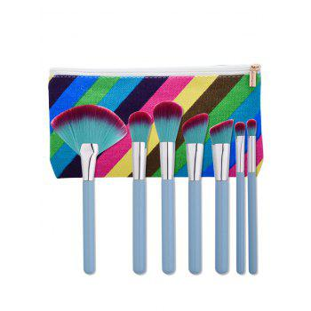 7Pcs Makeup Brushes Set With Striped Bag