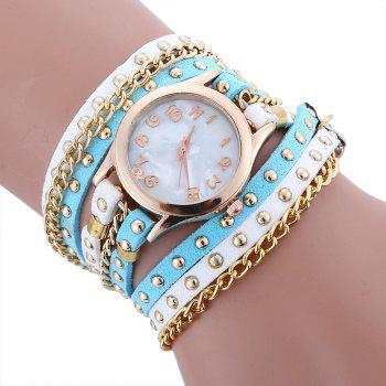 Chain Studed Faux Leather Bracelet Watch - BLUE AND WHITE BLUE/WHITE