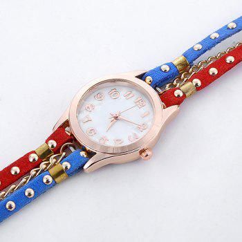 Chain Studed Faux Leather Bracelet Watch -  BLUE/WHITE