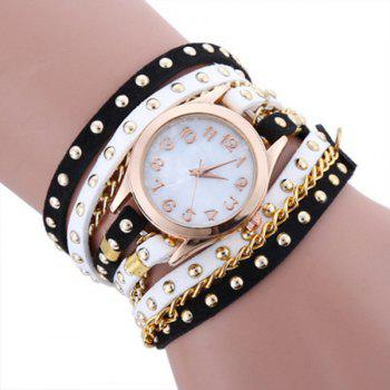 Chain Studed Faux Leather Bracelet Watch - BLACK WHITE BLACK WHITE