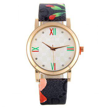 Flower Print Faux Leather Strap Watch - BLACK BLACK
