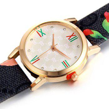 Flower Print Faux Leather Strap Watch -  BLACK