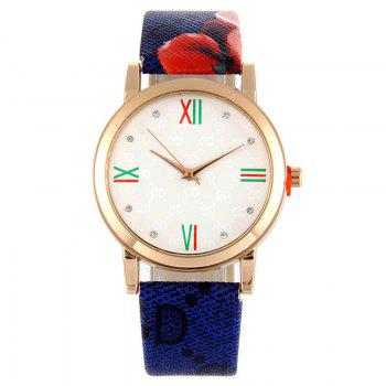 Flower Print Faux Leather Strap Watch - BLUE BLUE