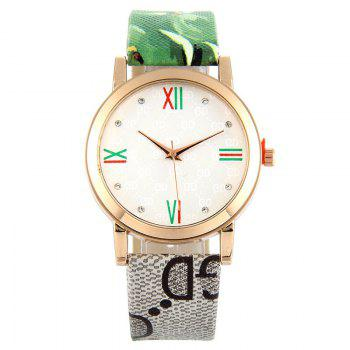 Flower Print Faux Leather Strap Watch - GREEN GREEN