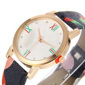 Flower Print Faux Leather Strap Watch -  GREEN