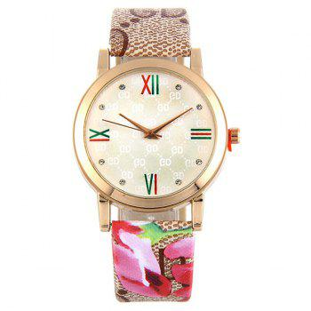 Flower Print Faux Leather Strap Watch - PALOMINO PALOMINO