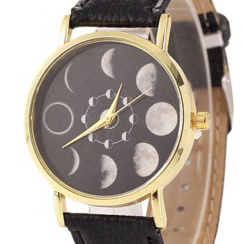 Faux Leather Lunar Eclipse Face Watch - BLACK
