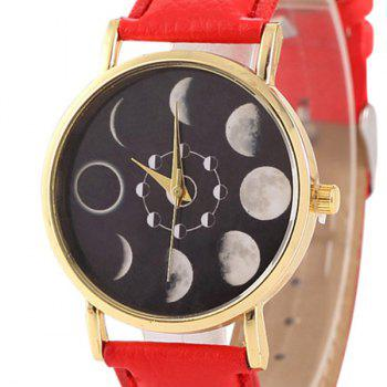 Faux Leather Lunar Eclipse Face Watch -  RED