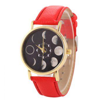 Faux Leather Lunar Eclipse Face Watch - RED RED