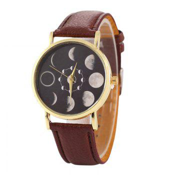 Faux Leather Lunar Eclipse Face Watch - BROWN BROWN
