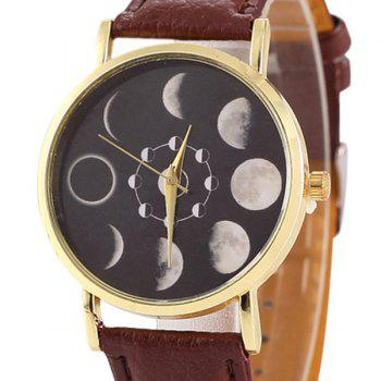 Faux Leather Lunar Eclipse Face Watch -  BROWN