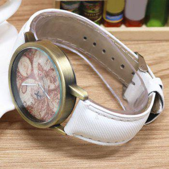World Map Airplane Faux Leather Watch -  WHITE