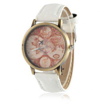 World Map Airplane Faux Leather Watch - WHITE WHITE