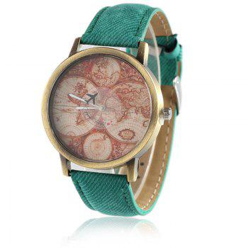 World Map Airplane Faux Leather Watch - GREEN GREEN