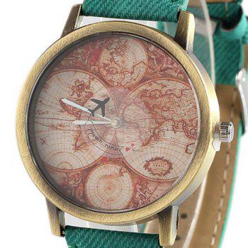 World Map Airplane Faux Leather Watch -  GREEN