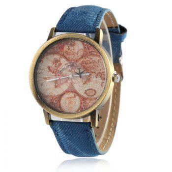 World Map Airplane Faux Leather Watch - BLUE BLUE