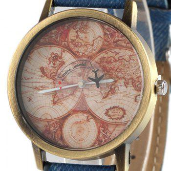 World Map Airplane Faux Leather Watch -  BLUE