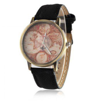 World Map Airplane Faux Leather Watch - BLACK BLACK