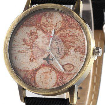 World Map Airplane Faux Leather Watch -  BLACK