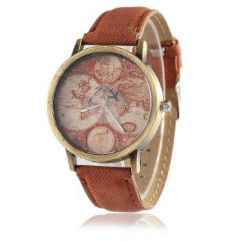 World Map Airplane Faux Leather Watch - BROWN BROWN