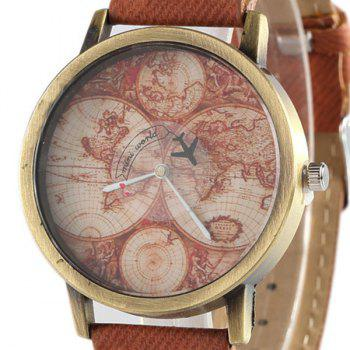 World Map Airplane Faux Leather Watch -  BROWN