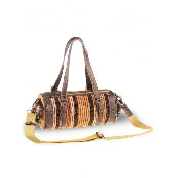 Ethnic Cylinder Shaped Canvas Tote Bag -  GINGER