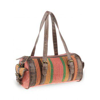Ethnic Cylinder Shaped Canvas Tote Bag - WATERMELON RED