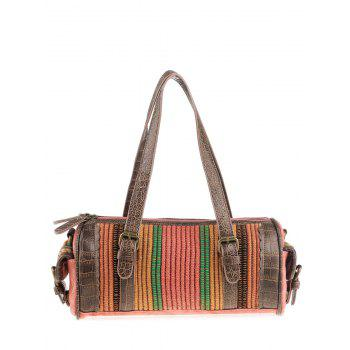 Ethnic Cylinder Shaped Canvas Tote Bag - WATERMELON RED WATERMELON RED