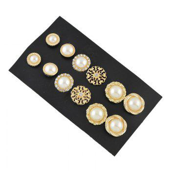 Rhinestone Graduated Faux Pearl Earring Set - GOLDEN