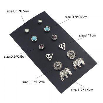 Faux Turquoise Vintage Elephant Earring Set - SILVER