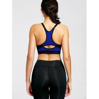 Padded Front Zip Sports Bra - BLUE BLUE