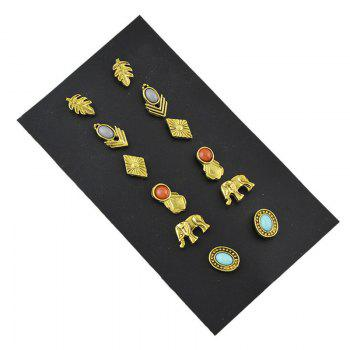 Elephant Leaf Oval Cartilage Earring Set - GOLDEN
