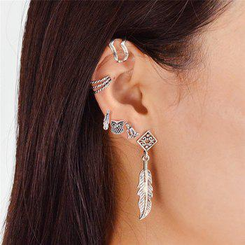 Feather Owl Alloy Cartilage Earring Set