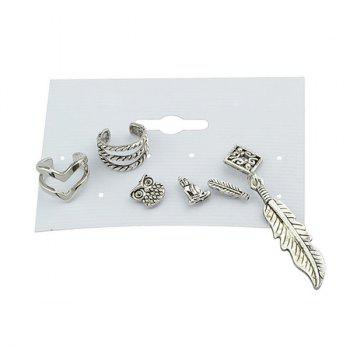 Feather Owl Alloy Cartilage Earring Set - SILVER