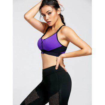 Padded Front Zip Sports Bra - PURPLE PURPLE