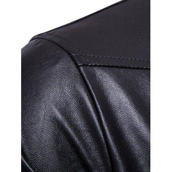 Flap Pockets Zipper Up Faux Veste en cuir - Noir M