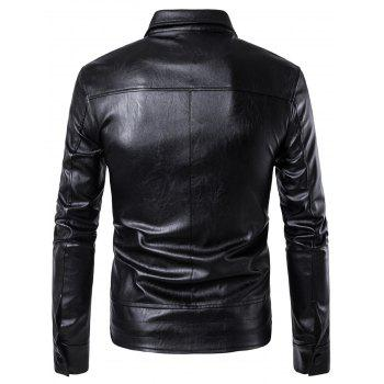 Flap Pockets Zipper Up Faux Veste en cuir - Noir L